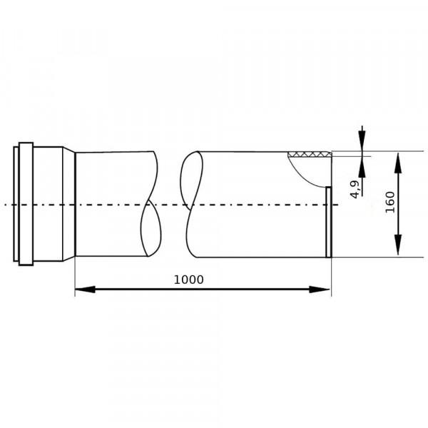 Труба наружная гладкая 160х4,9х1000мм