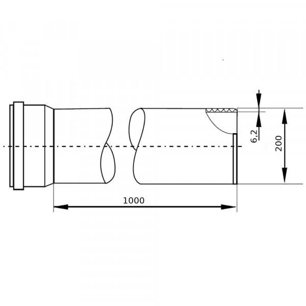 Труба наружная гладкая 200х6,2х1000мм