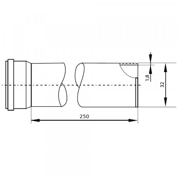 Канал. труба 32х1,8х 250мм, РТП (белая)