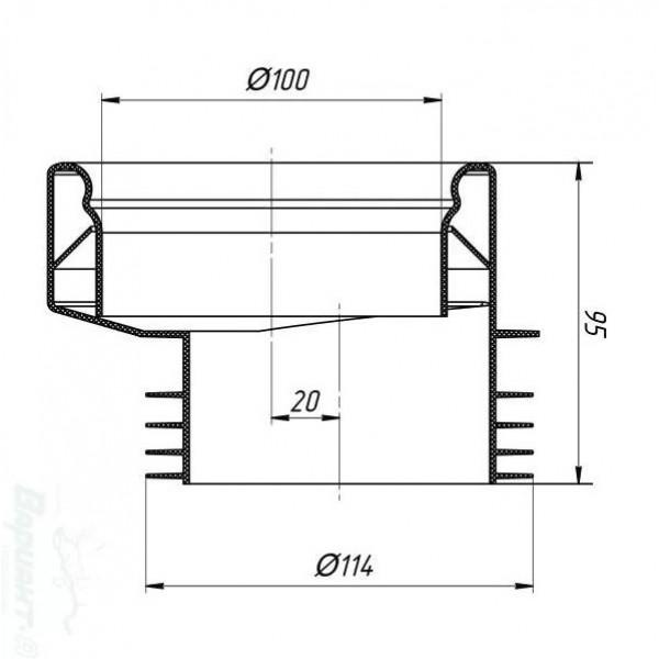 W 0410 Эксцентриковая манжета 20 мм для унитаза 100*114