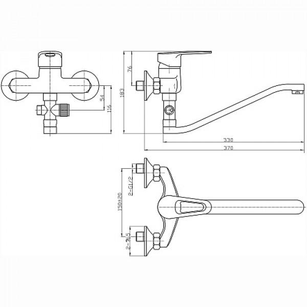 Смес. DEVIDA серия ERSA ванна, с поворотным изливом и наружным поворотным дивертором