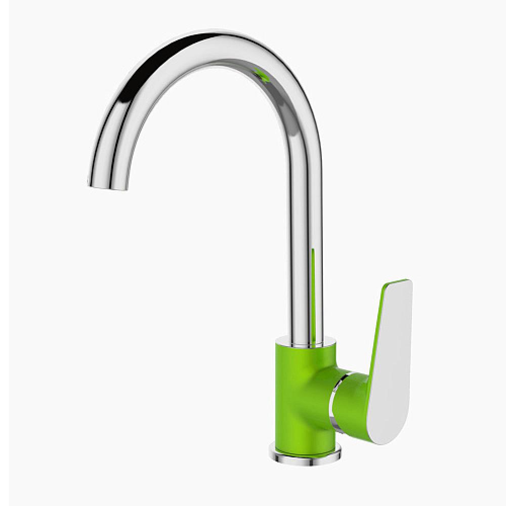 Смес. DEVIDA серия VIVA-GRASS кухня, с боковой ручкой, на гайке, зеленый