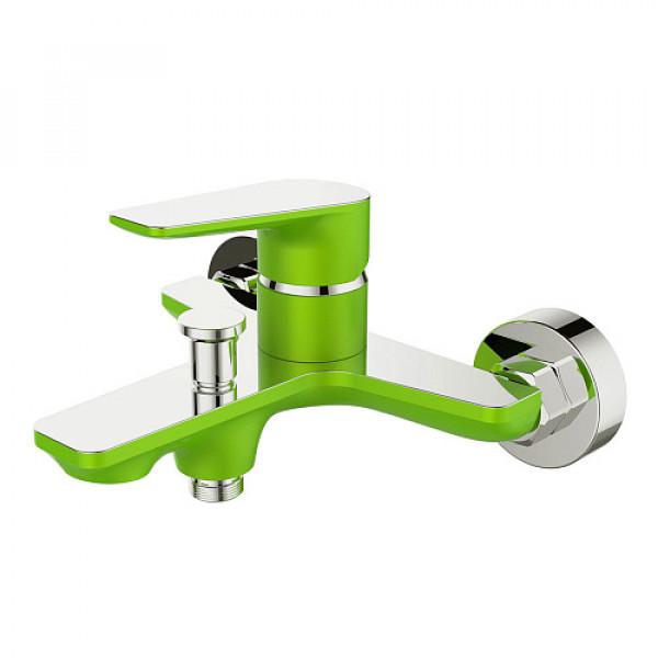 Смес. DEVIDA серия VIVA-GRASS ванна, с литым корпусом-изливом и кнопочным дивертором, зеленый