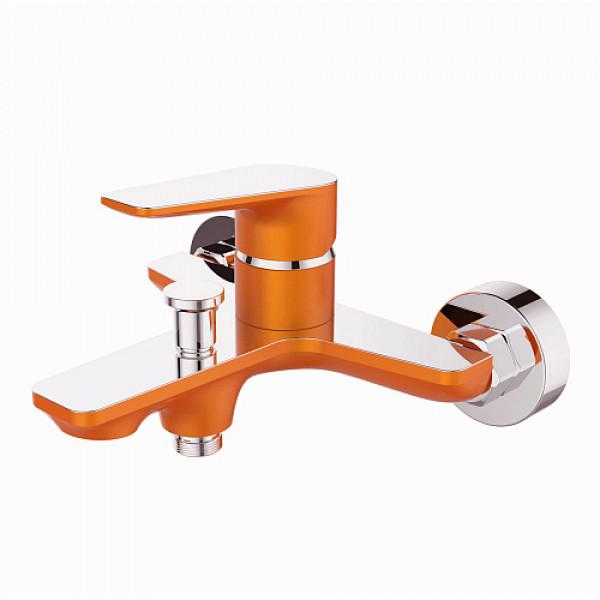 Смес. DEVIDA серия VIVA-ORANGE ванна, с литым корпусом-изливом и кнопочным дивертором, оранж