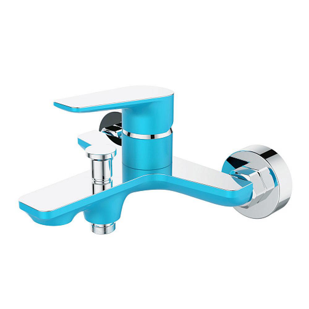 Смес. DEVIDA серия VIVA-SKY ванна, с литым корпусом-изливом и кнопочным дивертором, синий