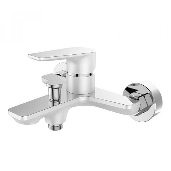 Смес. DEVIDA серия VIVA-WHITE ванна, с литым корпусом-изливом и кнопочным дивертором, белый