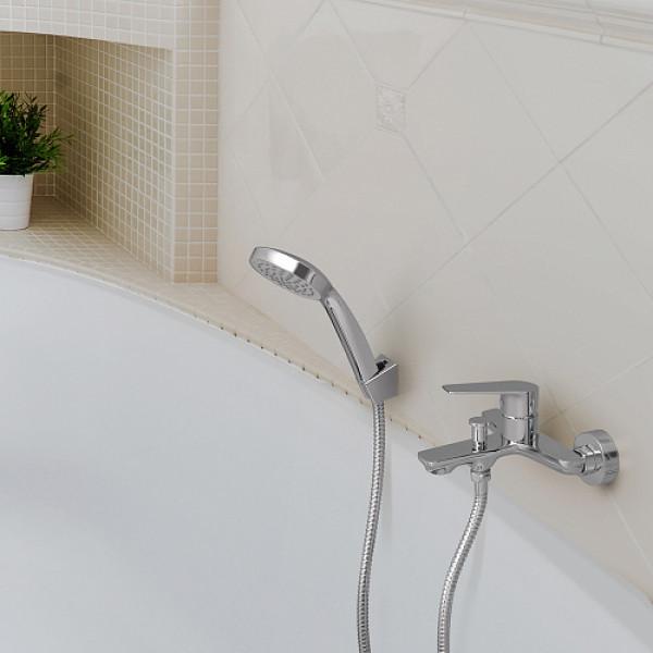 Смес. DEVIDA серия VIVA ванна, с литым корпусом-изливом и кнопочным дивертором