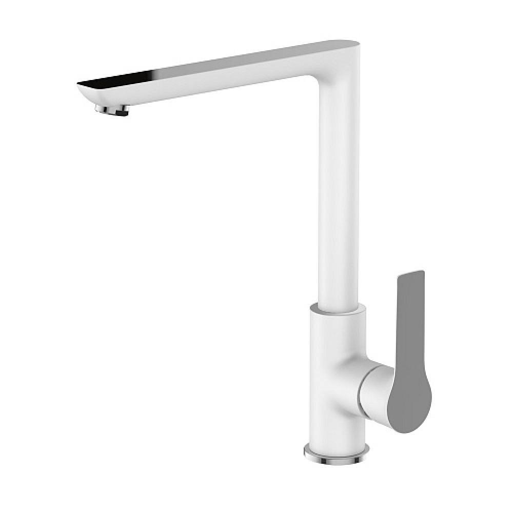 Смес. DEVIDA серия ZUTTO-WHITE кухня, с боковой ручкой, на гайке, белый