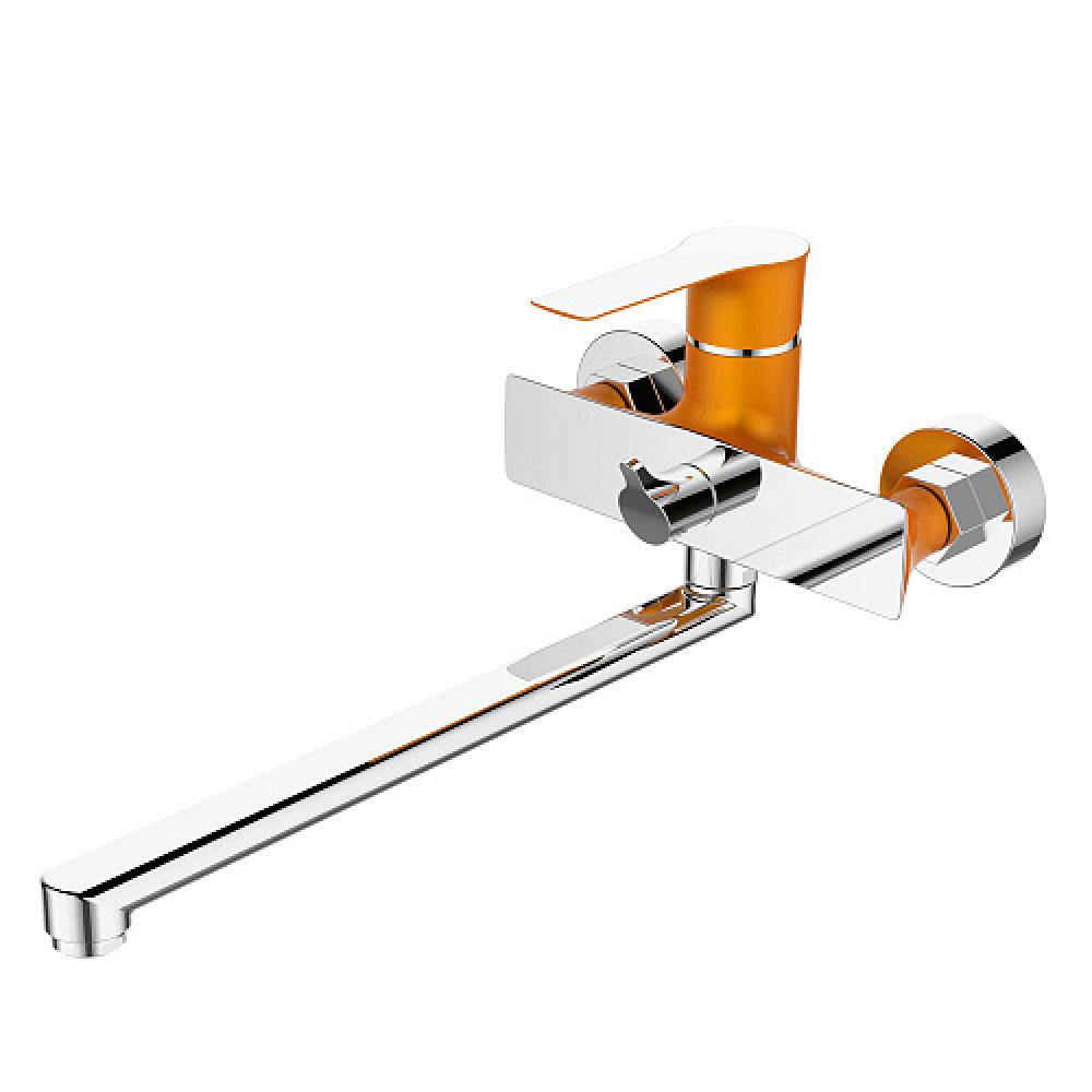 Смес. DEVIDA серия ZUTTO-ORANGE ванна, с поворотным изливом и встроенным поворотным дивертором, ора