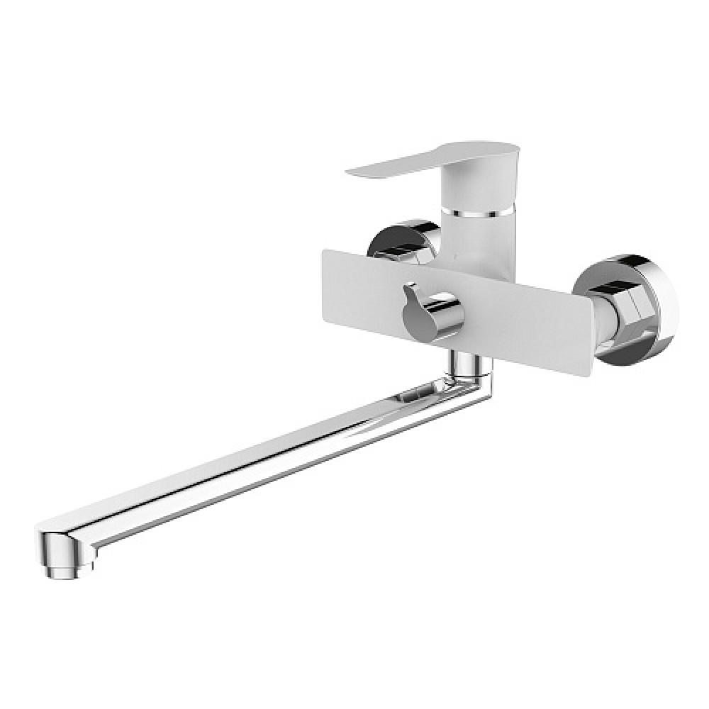 Смес. DEVIDA серия ZUTTO-WHITE ванна, с поворотным изливом и встроенным поворотным дивертором, белы