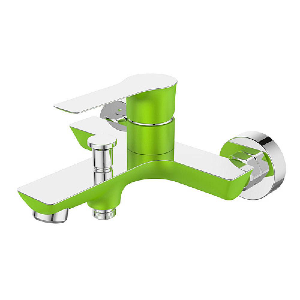 Смес. DEVIDA серия ZUTTO-GRASS ванна, с литым корпусом-изливом и кнопочным дивертором, зеленый