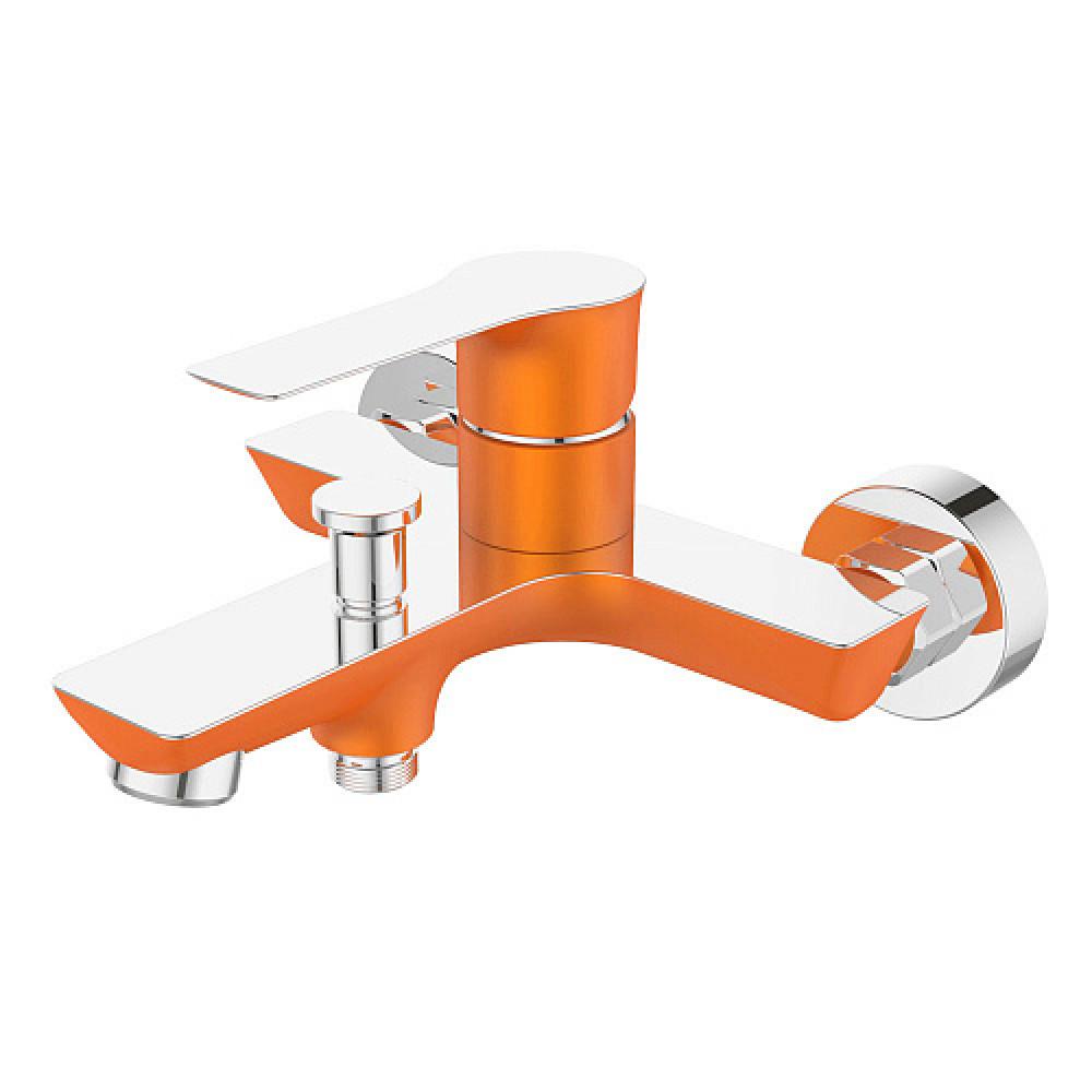Смес. DEVIDA серия ZUTTO-ORANGE ванна, с литым корпусом-изливом и кнопочным дивертором, оранж