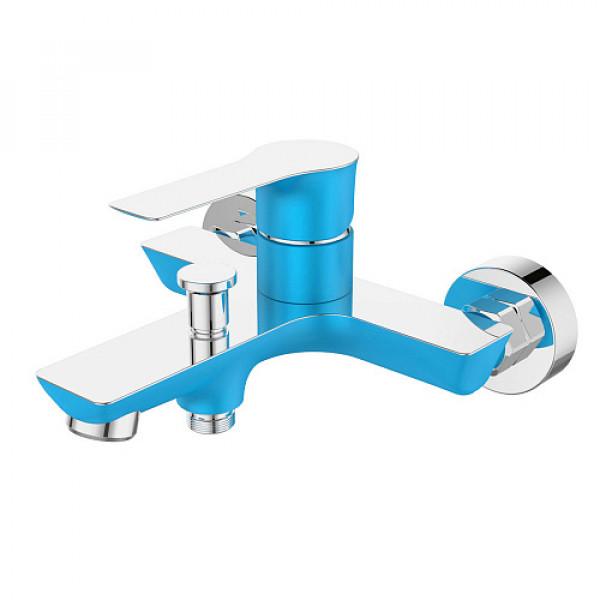 Смес. DEVIDA серия ZUTTO-SKY ванна, с литым корпусом-изливом и кнопочным дивертором, синий