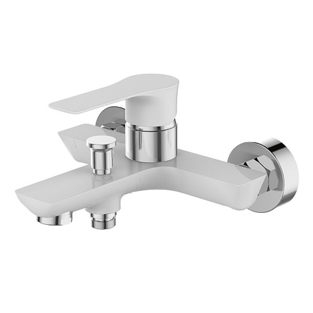 Смес. DEVIDA серия ZUTTO-WHITE ванна, с литым корпусом-изливом и кнопочным дивертором, белый