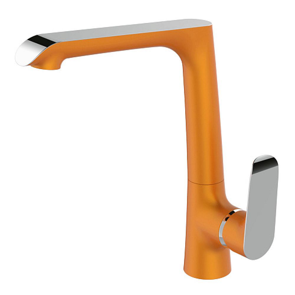 Смес. DEVIDA серия GEMMA-ORANGE кухня, с боковой ручкой, на гайке, оранж
