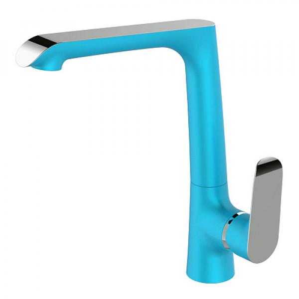 Смес. DEVIDA серия GEMMA-SKY кухня, с боковой ручкой, на гайке, синий