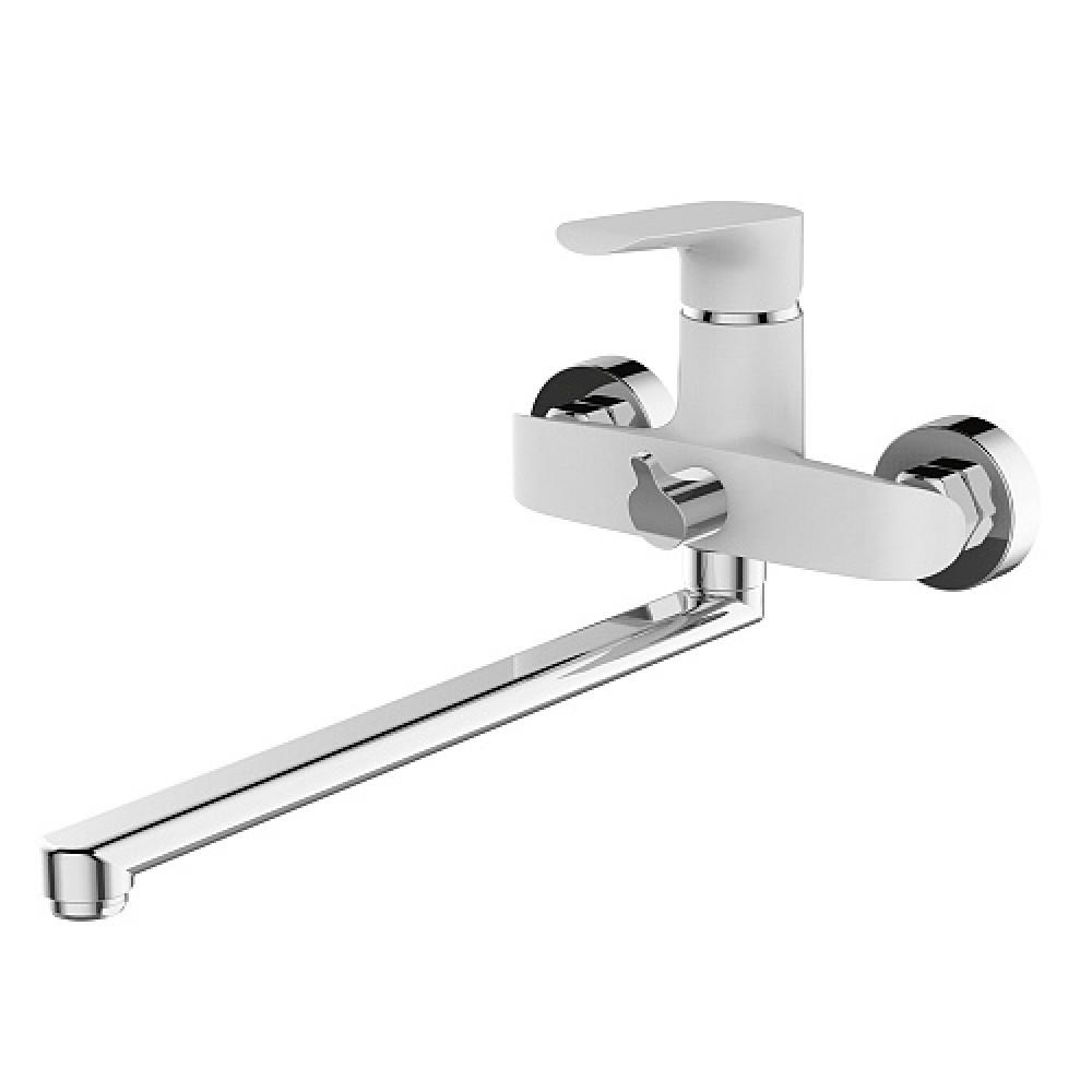 Смес. DEVIDA серия GEMMA-WHITE ванна, с поворотным изливом и встроенным поворотным дивертором, белы