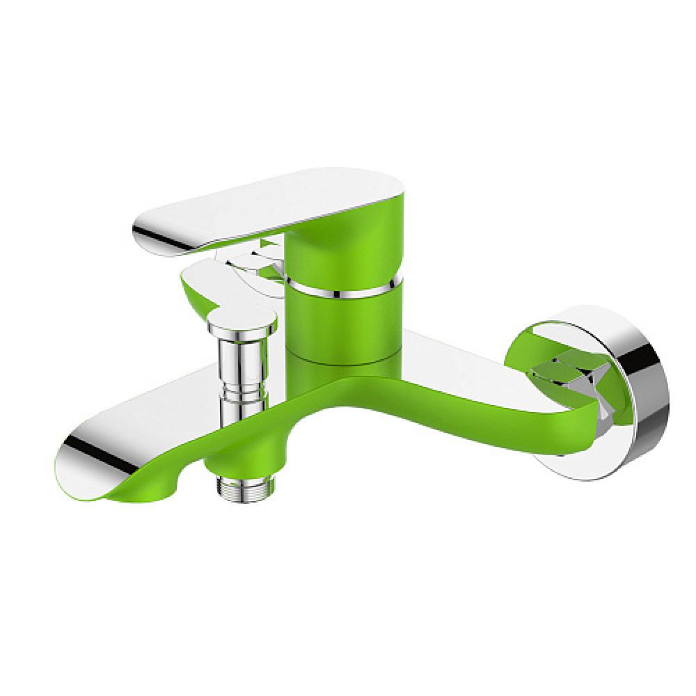 Смес. DEVIDA серия GEMMA-GRASS ванна, с литым корпусом-изливом и кнопочным дивертором, зеленый