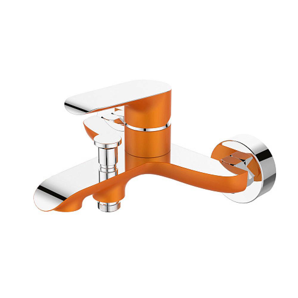 Смес. DEVIDA серия GEMMA-ORANGE ванна, с литым корпусом-изливом и кнопочным дивертором, оранж