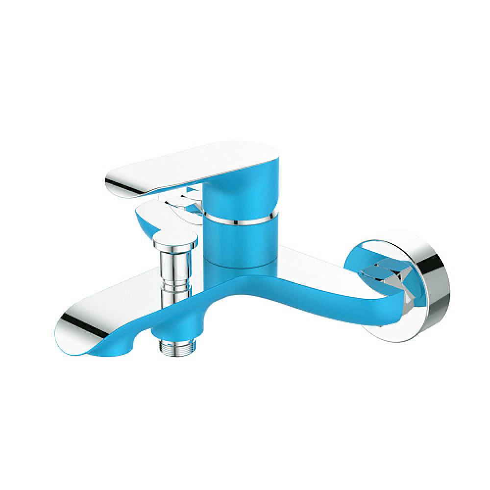 Смес. DEVIDA серия GEMMA-SKY ванна, с литым корпусом-изливом и кнопочным дивертором, синий