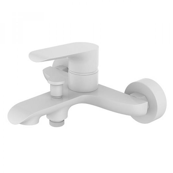 Смес. DEVIDA серия GEMMA-WHITE ванна, с литым корпусом-изливом и кнопочным дивертором, белый