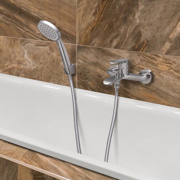 Смес. DEVIDA серия GEMMA ванна, с литым корпусом-изливом и кнопочным дивертором